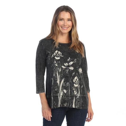 "Jess & Jane ""Irene"" Printed Mineral Washed Tunic Top - M48-1553"
