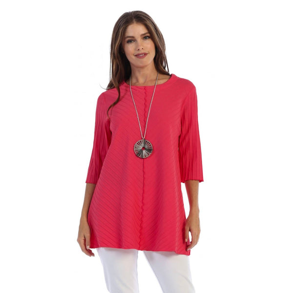 Focus Fashion Ribbed Texture Tunic in Raspberry - CS-342-RSP