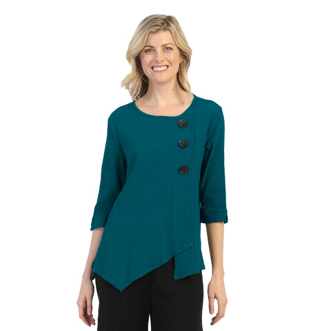 Focus Textured Point Hem Tunic in Pacific Teal Blue - CG-102-PTB
