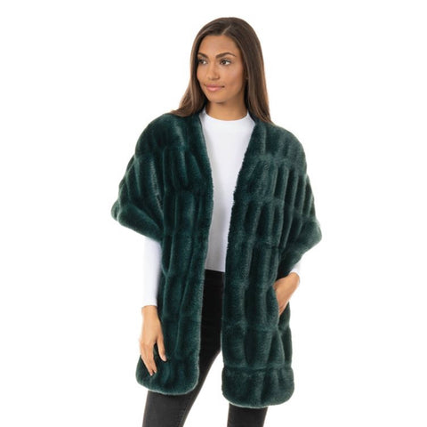 Fabulous Fur Emerald Mink Faux-Fur Pocket Shrug - 14436-EMD