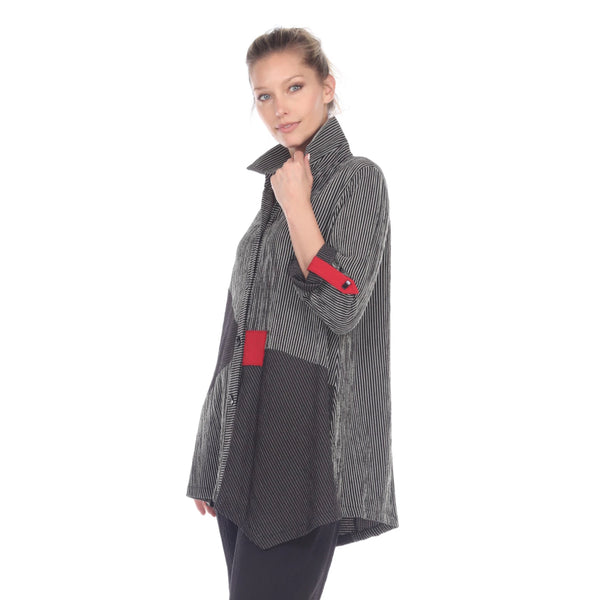 Moonlight Striped Button Front Shirt/Jacket in Khaki/Black/Red - 2169