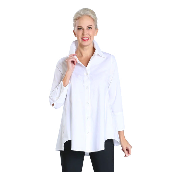 IC Collection Relaxed High-Low Blouse in White - 3758B-WT