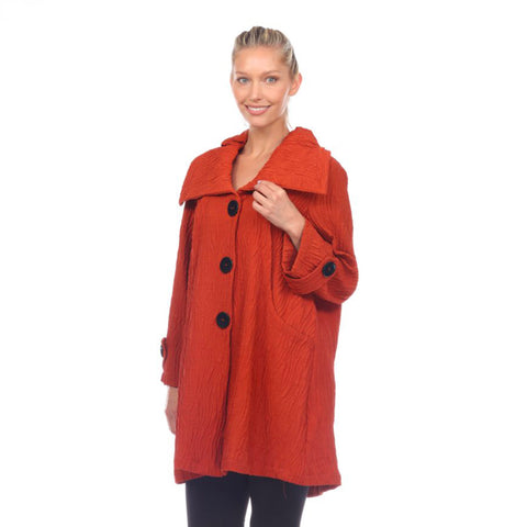 Moonlight Midi Button Front Jacket in Rust - 7527