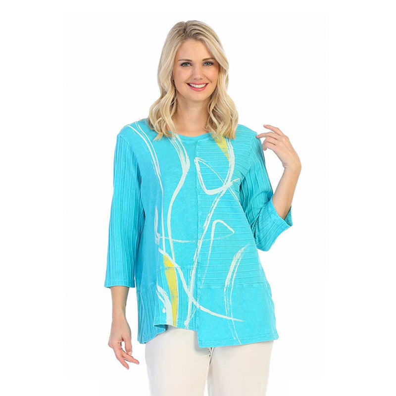 "Jess & Jane ""Willow"" Abstract Print Tunic Top w/ Rib Contrast - M67-1460"