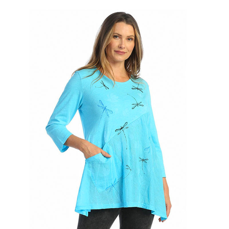 "Jess & Jane ""Fly Time"" Mineral Washed Tunic with Linen Contrast - M62-1587"