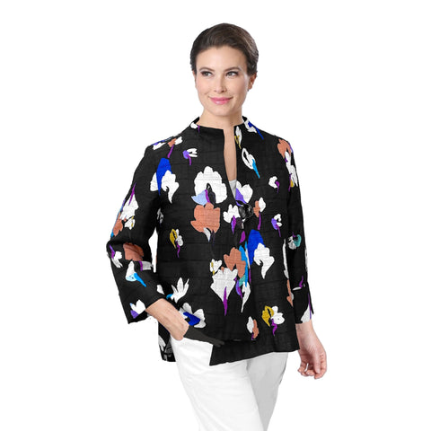 "IC Collection ""Escada"" Floral Asymmetric Jacket in Blue/Multi - 3841J-BLU"
