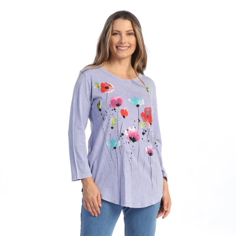 "Jess & Jane ""Joyful"" Mineral Washed Cotton Tunic Top in Periwinkle - M28-1578"