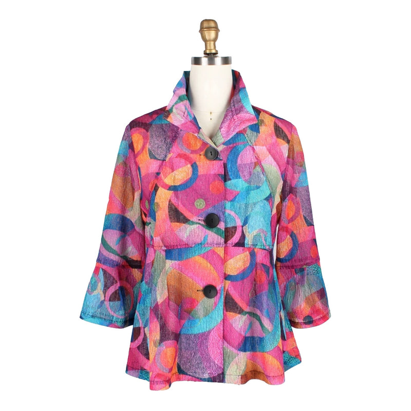 Damee Abstract-Print Jacket in Fuchsia/Multi - 4689-FUS