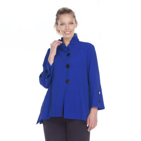 Moonlight by Y&S Button Front Jacket w/Ruffle Collar in Blue - 2449-BLU