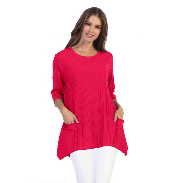 Focus Patch-Pocket Ribbed Tunic in Raspberry - CS-330-RSP