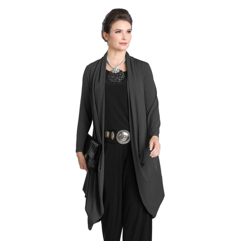 IC Collection Long Soft Knit Cardigan in Charcoal - 3138J-CHAR