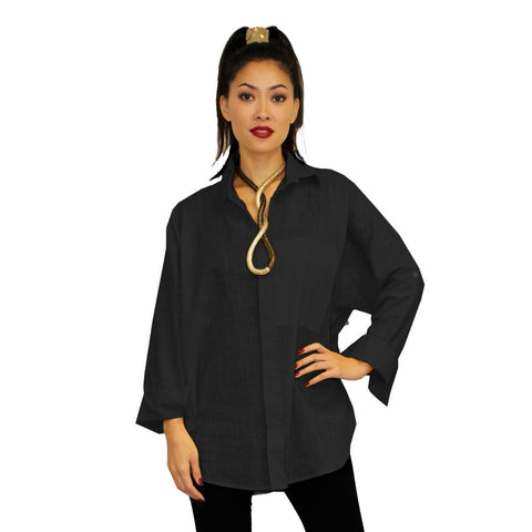 Dilemma Fashions Solid Button Front Big Shirt in Black - GDB-527-BLK