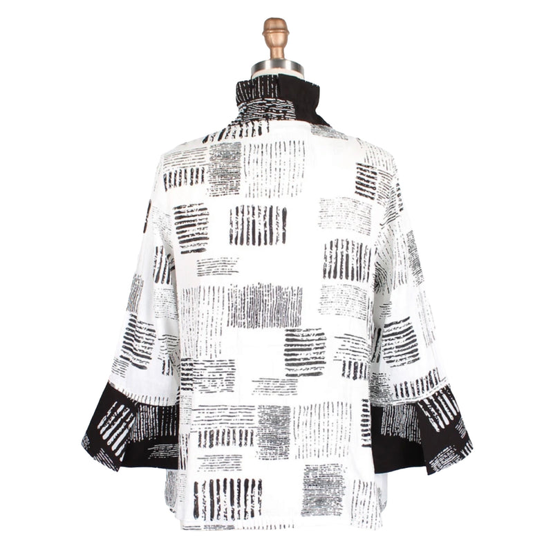 Damee Mixed Stripe-Print Jacket in White/Black - 4681-WT