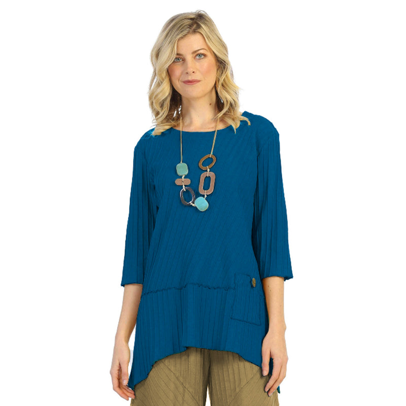 Focus Ribbed Pocket Tunic in Capri Blue - CS-303-CPBL