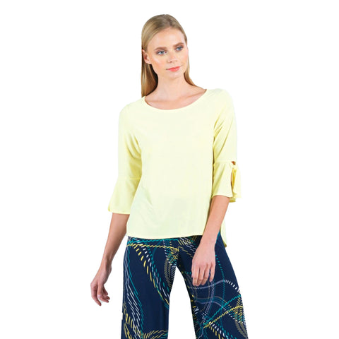 Clara Sunwoo Soft Knit Top with Tie Cuffs in Yellow - T16-YW