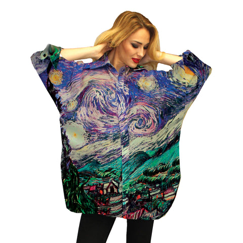 Dilemma Van Gogh Inspired Art Print Big Shirt - FRBS-232 VGO