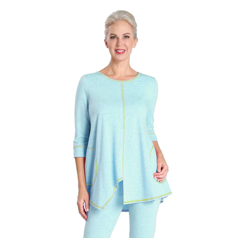 IC Collection Soft Knit Asymmetric Tunic in Sky Blue - 3703T-BLU