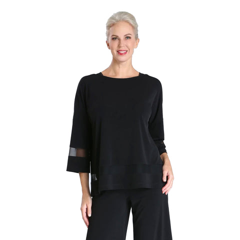 IC Collection Mesh Trim Top in Black - 3692T
