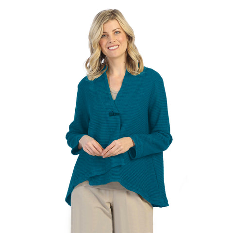 Focus Fashion Waffle Asymmetric Jacket in Pacific Teal Blue - SW-206-PTB