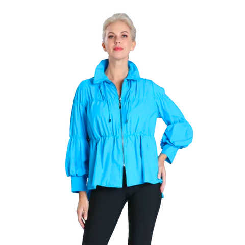 IC Collection Zip Front Parachute Jacket in Turquoise - 1395J-TQ