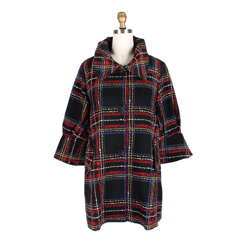 Damee Plaid Sweater Knit Swing Jacket in Red/Multi - 4659