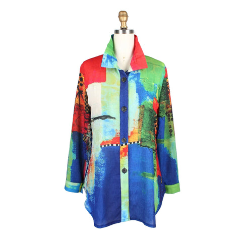 Damee Abstract Art Shirt in Blue/Multi - 7060