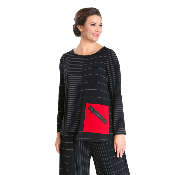 IC Collection Striped Tunic w/ Zip Pocket in Black/Red - 3852T-RED