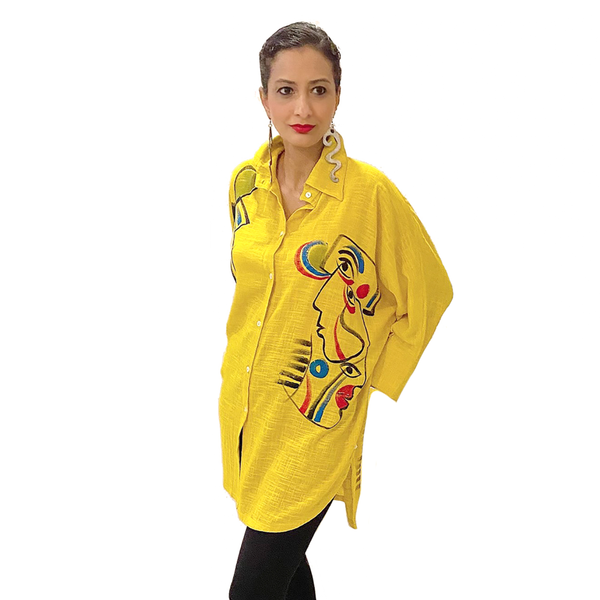 Dilemma Fashions Picasso Shirt in Yellow - GDB-560-YW