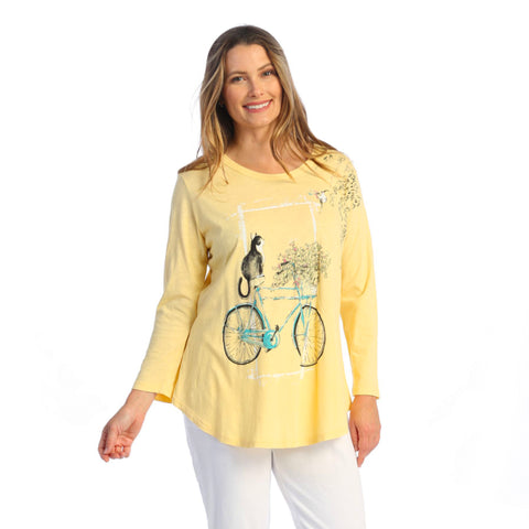"Jess & Jane ""Cat on a Bike"" Mineral Washed Cotton Tunic Top - M28-1588"