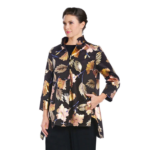 IC Collection Shimmering Floral Swing Shirt/Jacket in Gold/Multi - 2386J