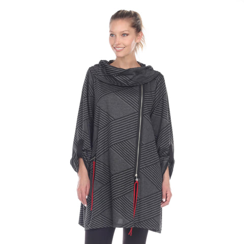 Moonlight Striped Soft Knit Tunic in Charcoal/Black - 2698