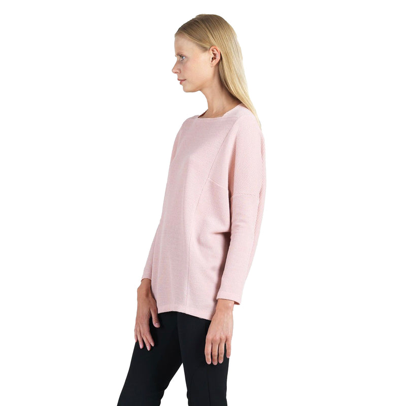Clara Sunwoo Ribbed Boat Neck Tunic Top in Blush - T133W-BLS - Size M Only