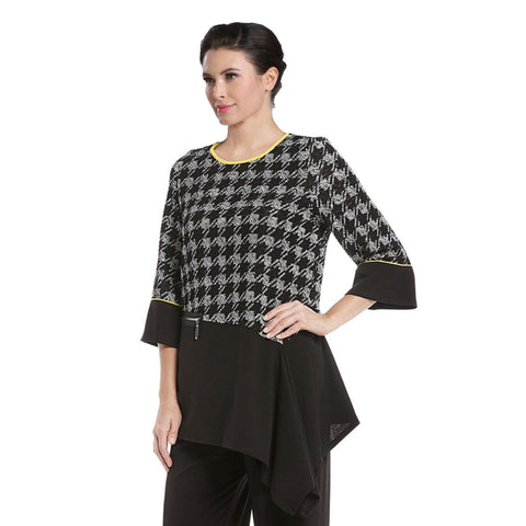 IC Collection Houndstooth Asymmetric Tunic- 2203T
