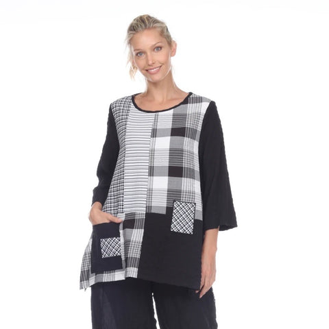 Moonlight Mixed-Print Pocket Tunic in Black/White - 2219TU-BK
