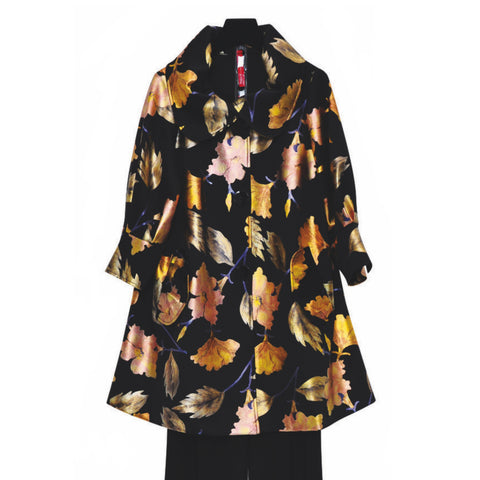 IC Collection Shimmering Floral Swing Jacket in Gold/Multi- 3883J