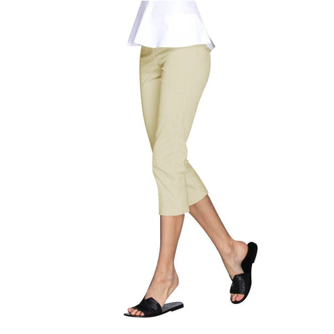 "Mesmerize ""Nova"" Zip Front Capri's in Light Khaki - NOVA-LK - Sizes 4, 6 & 8"