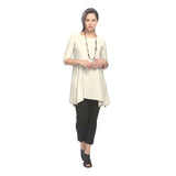 IC Collection Criss Cross Back Pocket Tunic in Ivory - 1575T-IV - Sizes M Only