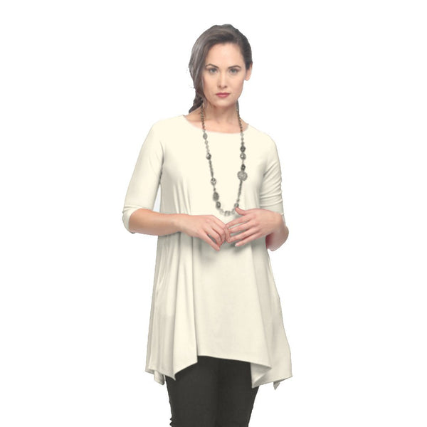 IC Collection Long Tunic with Pockets in Ivory - 1575T-IV - Size M Only