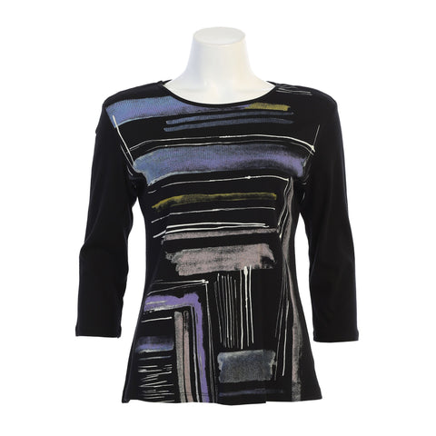 "Jess & Jane ""Linear"" Abstract Print Soft Cotton Top - 14-1423BK - Limited Sizes"