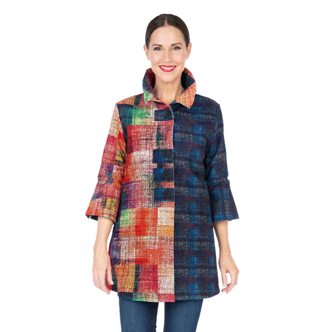 Damee NY Mixed-Print Corduroy Button Patch Jacket in Multi - 4593