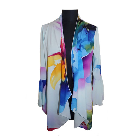 Mesmerize Watercolor Print Open-Front Cardigan in Sky Blue/Multi - Kathleen