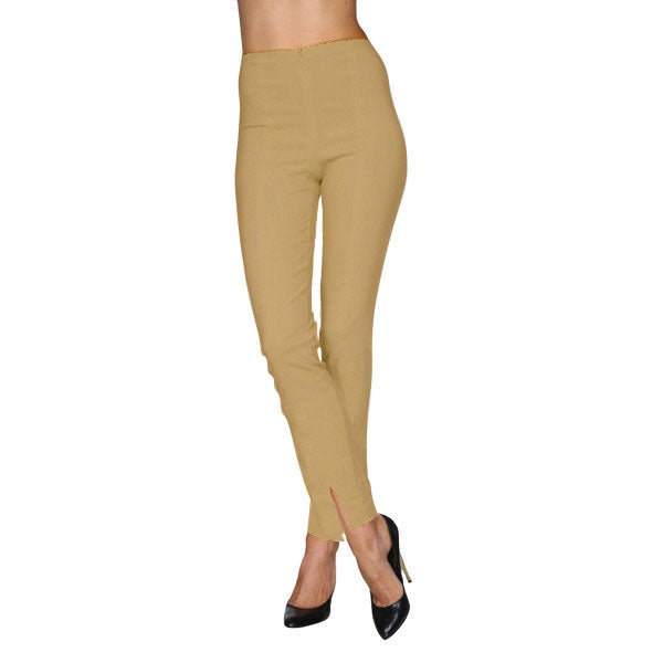 Mesmerize Pants with Front Ankle Slits and Front Zipper in Khaki - MA21-KHI