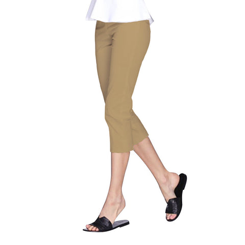 "Mesmerize ""Nova"" Zip Front Capri in Khaki - NOVA-KHA - Sizes 4 Thru 10"