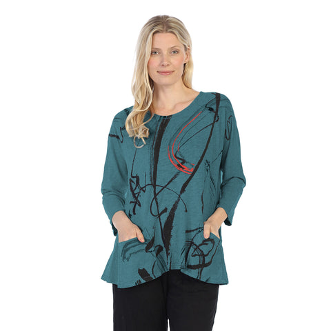 "Jess & Jane ""Matilda"" Abstract Tunic Top in Cypress - M12-1247"