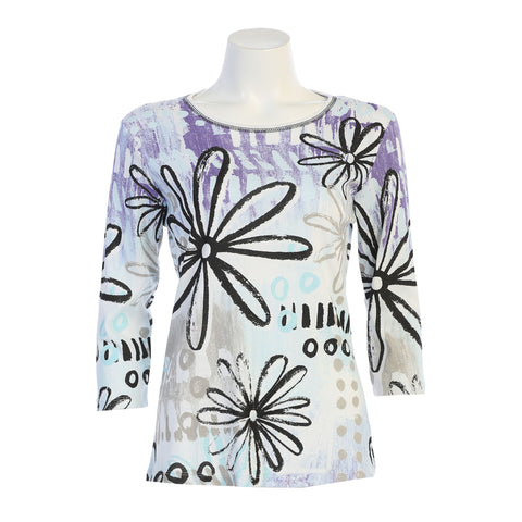 "Jess & Jane ""Delilah"" Abstract Floral Print Cotton Top - 14-1370WT"