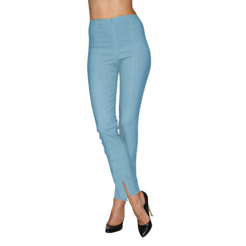 "Mesmerize""Mariel 32"" Cotton Denim Pants with Front Ankle Slits in Light Denim Blue - MA23-LTDN"