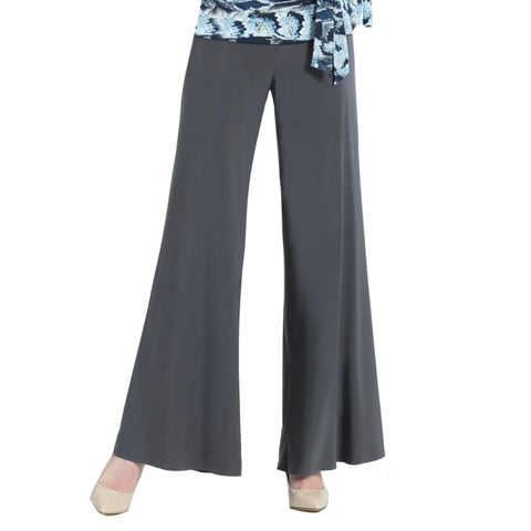 Clara Sunwoo Soft Stretch Knit Palazzo Pant in Charcoal - LPT-CHAR