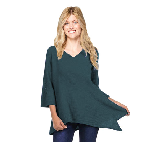 Focus Fashion V-Neck  Bell Sleeve Tunic in Dark Teal - LW-102-DT
