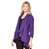 Focus Fashion Open Front Waffle Cardigan in Blackberry - LW-113-BB