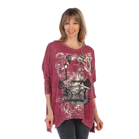 "Jess & Jane ""Romantic"" Mineral Washed Cotton Top in Wine - M15-1297"